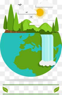 世界地球日清新地球插画