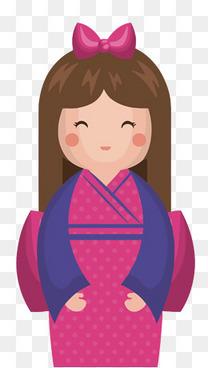 矢量卡通日式娃娃