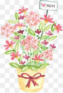 粉红水彩盆栽母亲节
