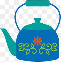 卡通扁平烧开水茶壶插画装饰