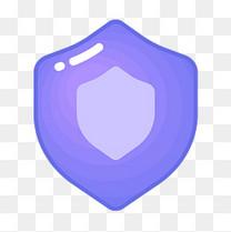 紫色圆角安全盾牌元素