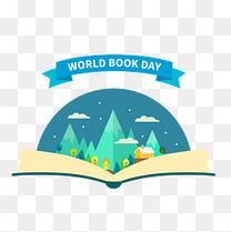 创意世界读书日打开的书本世界矢量图