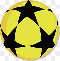 黑色五角星黄色底纹卡通足球花纹矢量素材