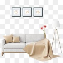 清新现代家居家装沙发落地灯素材