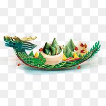 端午节龙舟与粽子主题装饰