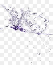 手绘紫色水纹水浪水珠