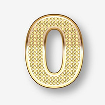 矢量艺术字金色数字0