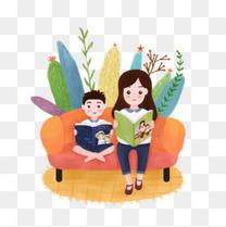 卡通手绘读书的妈妈和儿子
