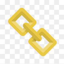 黄色扁平化光泽链接元素