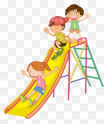 卡通手绘滑滑梯的孩子们