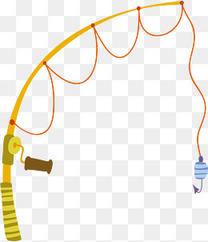 矢量图黄色钓鱼鱼竿