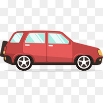 红色扁平化汽车元素