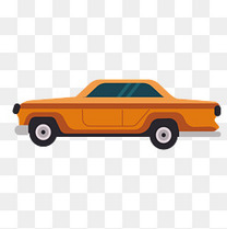 橙色扁平化汽车元素
