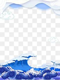 端午节水花主题边框分层
