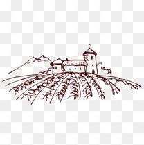 手绘卡通葡萄酒庄园素描