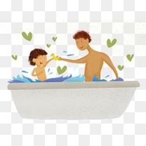 小清新感恩父亲节洗澡插画
