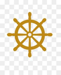 手绘卡通轮船方向盘船舵