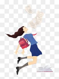 蓝色清新手绘风格毕业季海报女性跳跃