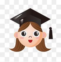 卡通毕业女性头像设计