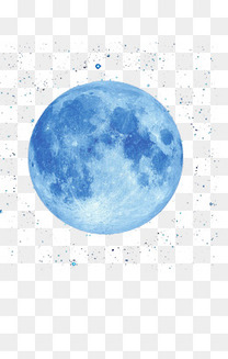 手绘蓝色月亮免抠图