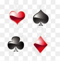 立体扑克花纹矢量素材,