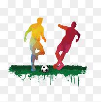 踢足球剪影矢量图下载