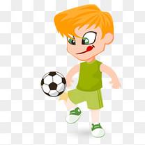 卡通踢足球矢量图下载