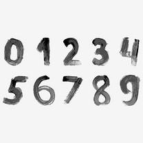 黑色毛笔水墨水彩创意艺术数字