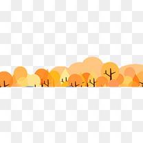 卡通手绘黄色秋天树叶