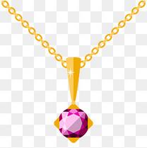 紫色钻石吊坠项链插画