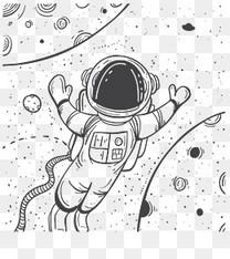 手绘遨游太空宇航员
