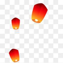 红黄色漂浮的中秋灯笼