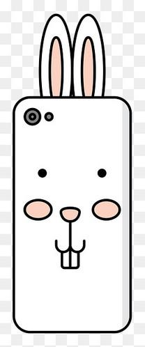 手绘小兔子彩色手机壳图案