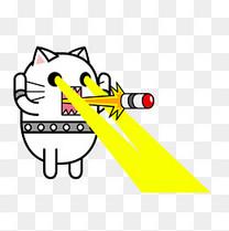 卡通手绘可爱的猫咪火眼金睛