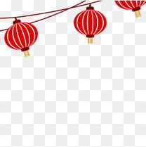 手绘中秋国庆海报红色灯笼装饰元素