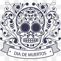 蓝色花纹墨西哥骷髅