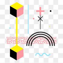 黄色立体形状缤纷电商孟菲斯风格装饰元素