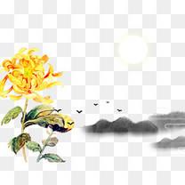 重阳节山水菊花元素
