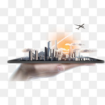创意手机城市缩影立体画面
