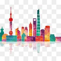 炫彩上海城市建筑剪影