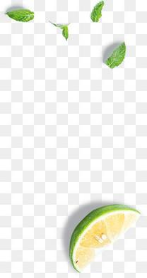 绿色柠檬切片漂浮