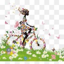 炫彩春季女子剪影矢量素材