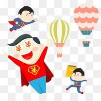 扁平化banner卡通人物素材png