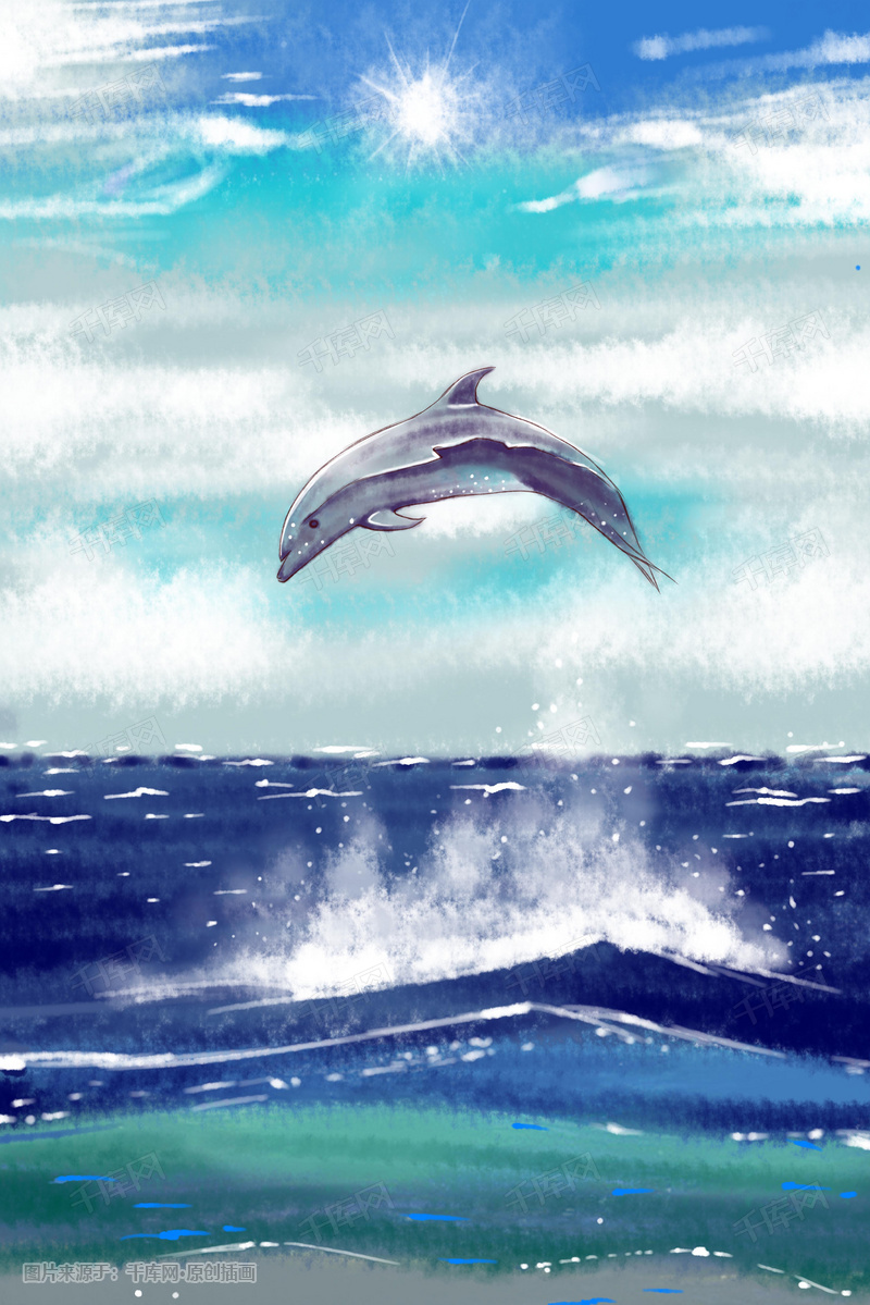 飞跃海面的鲸鱼唯美插画