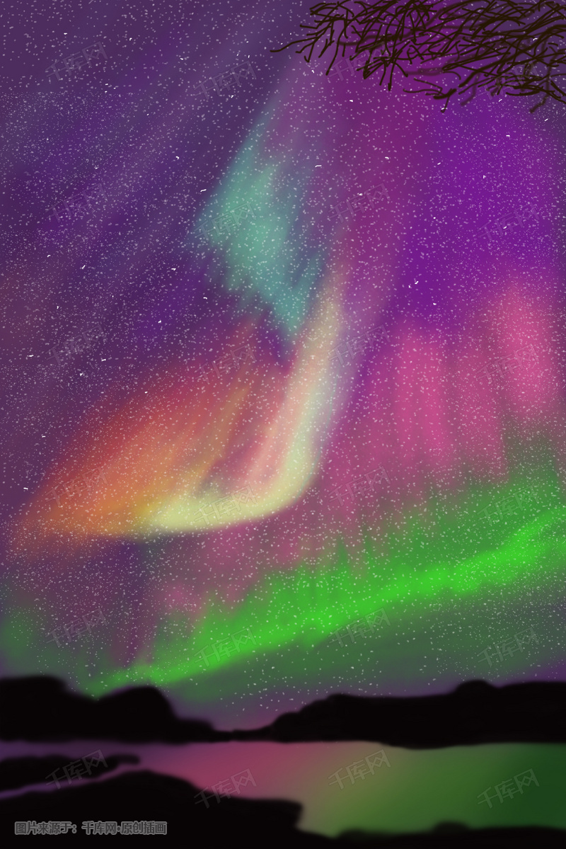 绚丽璀璨的极光星空背景