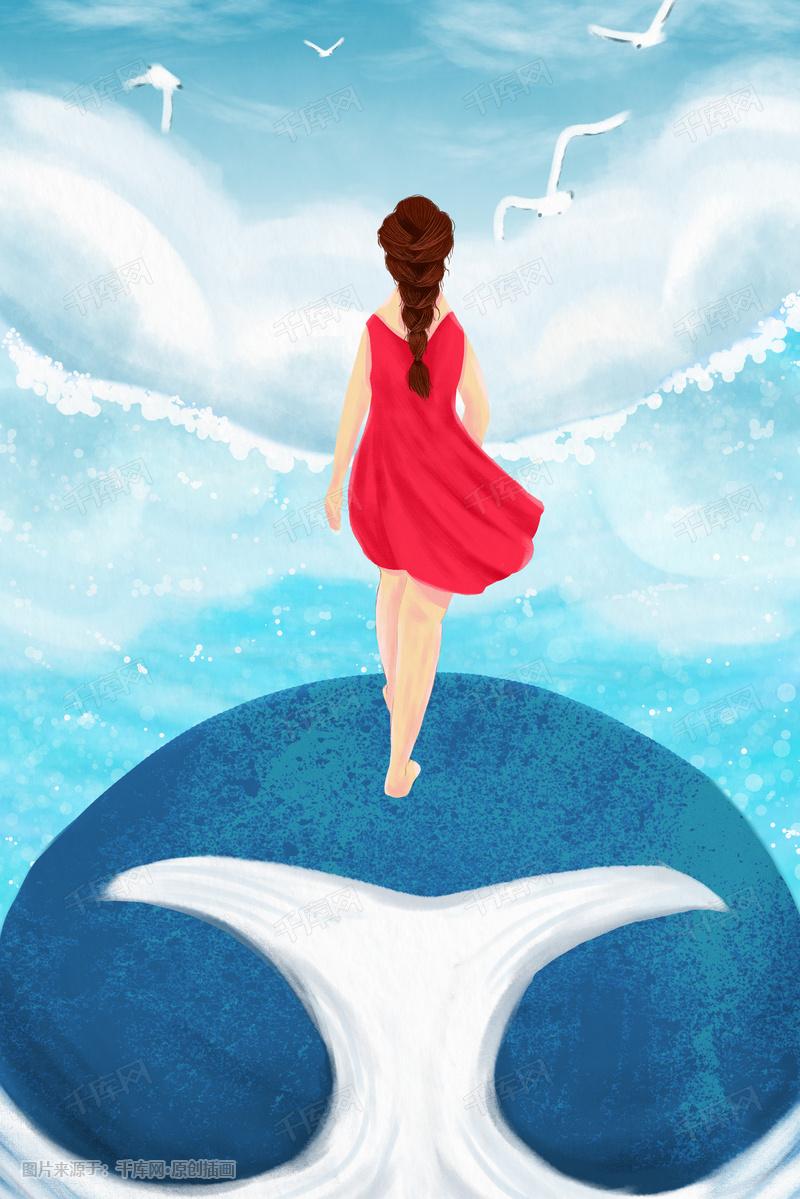 手绘少女鲸鱼与海