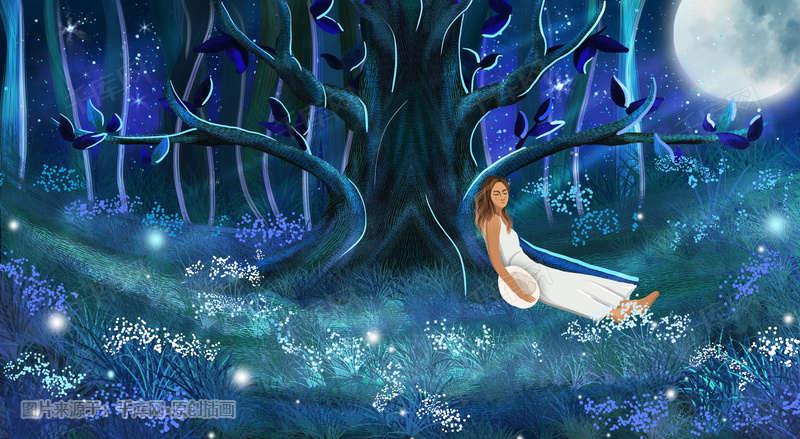 梦幻星空下的女孩儿