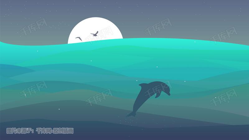 夜晚梦幻海洋背景图