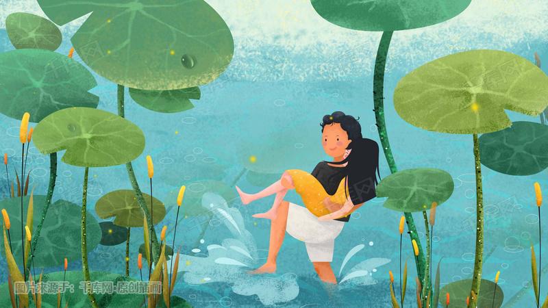 情侣主题系列插画——夏季戏水
