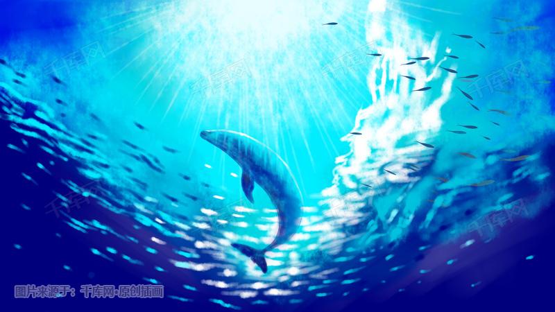 唯美海洋鲸鱼插画